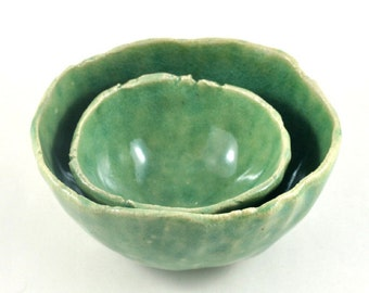 Ceramic Stoneware Nesting Bowls Set of Two Oval Green Handmade Pottery Rustic Pinch Pots