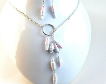 Handmade Paper Bead Jewelry Lariat Necklace and Earrings Set Pink Grey and White Striped Pastel Tones Recylced