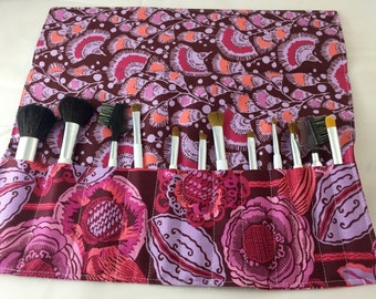 Makeup Brush Roll - Makeup Brush Holder Organizer - Make Up Brush Holder - Amy Butler Bright Heart Coco Bloom in Plum Purple