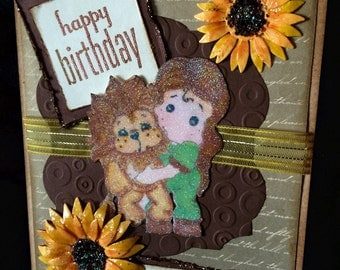 birthday card fancy lion and sunflowers handmade  greeting