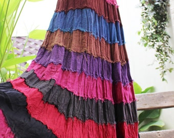 ARIEL on Earth - Boho Gypsy Long Tiered Ruffle Patchwork Cotton Skirt - BD1507-2
