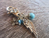 Silver Angel Wing clip on charm, Purse Zipper Pull Key Chain Dangle blue Swarovski crystal, turquoise howlite, flower bag charm accessory