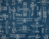 Navy Blue with White Vintage Airplane Blueprints Print Pure Cotton Fabric--One Yard