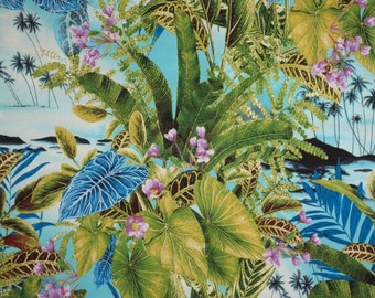 Green and Blue Tropical Leaves Print Pure Cotton Fabric--One Yard