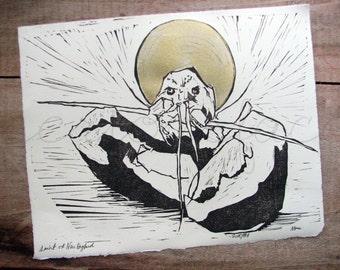 Saint of New England - Original Art - Hand Pressed Block Print