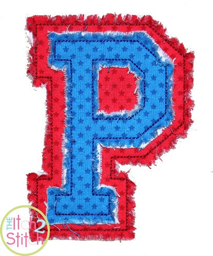 Raggy double varsity jersey letters applique font shown with