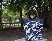Waxed canvas tote bag, small – waxed canvas fabric, canvas tote, beach tote, leather straps, canvas bag, small bag, small tote bag, birds