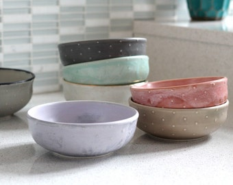 Cereal Bowl - Polka Dot Wide Mouth Bowl - Pottery ice cream bowl