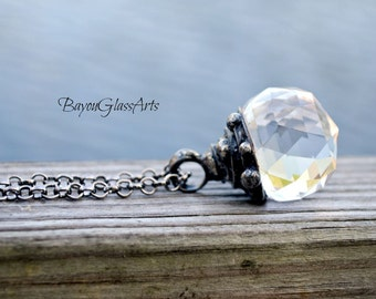 Crystal Ball Necklace, Fantasy Jewelry, Clear Crystal Necklace, Faceted Crystal Sphere, Crystal Ball Pendant (#2363)