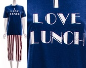 Vintage 70s Royal Blue I LOVE LUNCH Paper Thin T-Shirt Aged Broken In Oversized Slouchy Unisex S M L