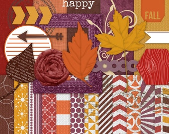 Fall Digital Textured Papers and Solid Papers with Bonus Clipart -  Scrapbook Kit Fall Mums