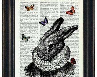 BOGO Sale Rabbit With Butteflies Art Print with A HHP Original with HHP Signature Butterflies Wall Decor Dictionary Print Dictionary Prints