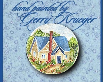 Hand painted button -  Country Cottage with Blue Roof