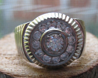 Large Vintage Sterling Silver Men's Ring with Rhinestones Size 11 Retro Style  Ring