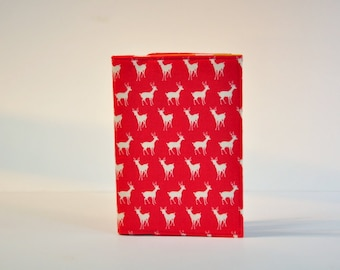 Passport Holder Cover Sleeve Case Red with White Tiny Deer  theme Cotton Fabric Only one - Pochette a passport