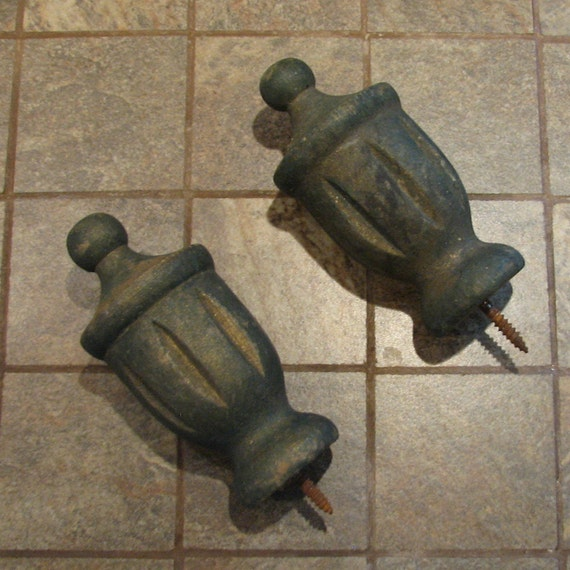 Vintage wood wooden finial set of 2 assemblage altered art for Wooden finials for crafts