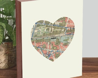 Paris Decor - Paris Map - Paris Print - Wood Block Art Print
