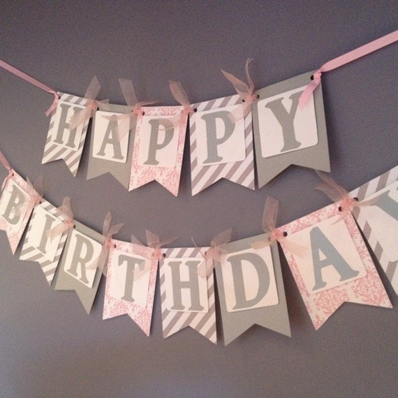 Silver and pink birthday banner birthday decoration adult for Adult birthday decoration