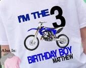 Blue Dirt Bike  Birthday T-Shirt Personalized with Name and age 1,2,3,4,5,6,7,8,9,10 dirtbike shirt - dirt bike shirt - bike shirt