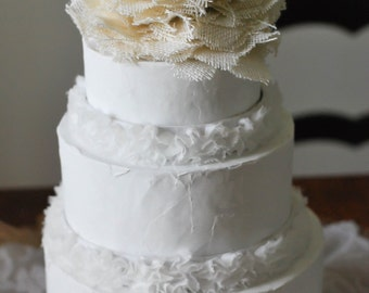 Neutral Burlap Cake Topper