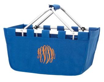 SHIPS NEXT DAY---Monogrammed Large Royal Blue Market Tote Basket  ---Free Monogramming---Great For Wedding Gifts---