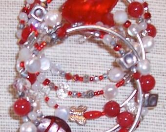 Multi-wrap Memory Wire Bracelet in Red, Silver & White