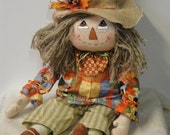 Sweet Fall Primitive Harvest Scarecrow Boy Male cloth art doll