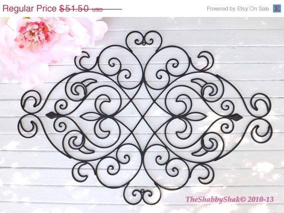 SUMMER SALE Wrought Iron Wall Decor / Black Wall By