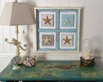 Starfish Wall Art Picture Shadow Box Beach House Decor by CastawaysHall