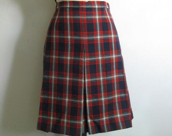 Vintage 1960s Wool Skirt Red White Navy Blue Plaid Pleat Skirt Small