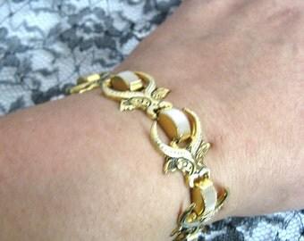 Vintage 1980s Damascene Bracelet Bull Black White Enamel Gold Tone Bracelet