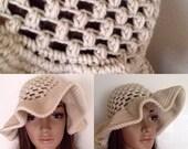Floppy Sun Hat- Oversize Off White Brim- Boho Beach Mesh