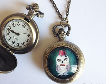 Geeky Fez Owl Pocket Watch - Doctor Who Necklace - Antique Bronze Locket
