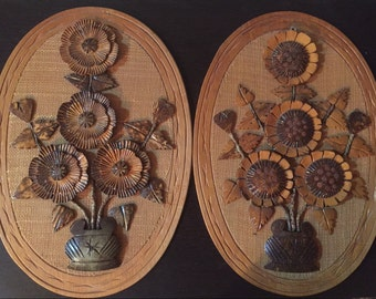Mid Century Pair of Handcarved 1960s Wooden Floral Wall Hangings
