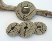 Double-Sided Stoneware Leaf Print Disc Beads