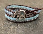 Bohemian Elephant Jewelry Blue Lavender Turquoise Elephant Bracelet Colorful Leather Elephant Wrap Bracelet