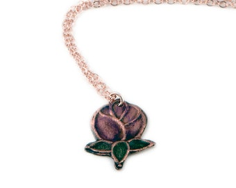 Flower Pendant Necklace |  Copper Rose | Rose Gold Necklace