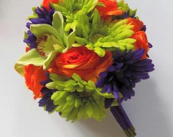 Green, Orange and Purple Bridal Bouquet, Fall Bouquet, Gerbera Daisy and Rose Bouquet, Cymbidium Orchid Bouquet, Destination Beach Wedding