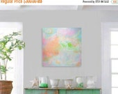 "STUDIO SALE 24"" x 24"" Original Abstract Painting - Contemporary Wall Art Decor - summer sky - dawn dusk - pastel candy colors"