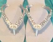 WEDDING Flip Flops!Bridal Flip Flops/Wedges. I DO Bridal Shoes.Beach Wedding.Bling Flip Flops.Rhinestone Shoes.Bridal Shoes.Wedding Ideas.