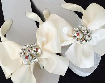 Wedding Flip Flops/Wedges.Bridal Flip Flops.SERIOUS Bridal BLING.Ivory Wedding ShoesBeach Wedding Sandals.Wedding Shoes.Bride Shoes.