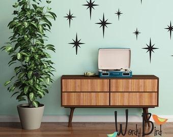 Retro starbursts vinyl wall decals, confetti stars - nursery decor - Gold star decals