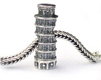 Leaning Tower of Pisa Landmark Charm Bead Sterling Silver LM012