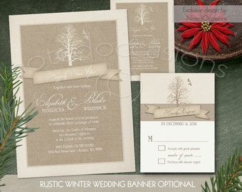 Wedding Invitation Printable- Rustic Winter Wedding Invitation Set RSVP Winter Wedding Invites tree Printable DIY Digital Download Template