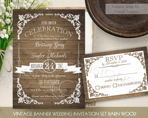 Rustic Wedding Invitation Printable Set Country By