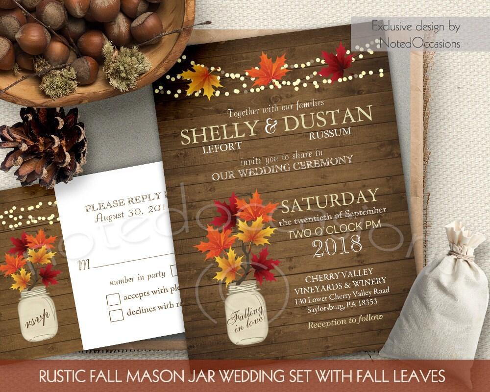 Rustic Fall Wedding Invitations: Rustic Fall Wedding Invitations Set Mason Jar Country Wedding