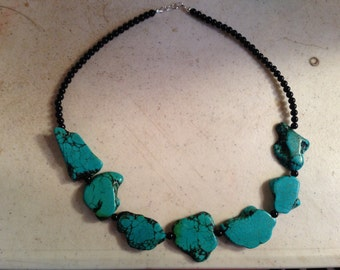 Turquoise Necklace - Sterling Silver Jewelry - Black Jewellery - Gemstone - Chunky - Funky