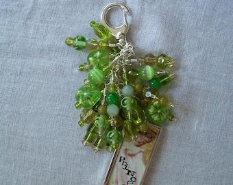 GREEN Beaded purse charm fob key chain zipper pull