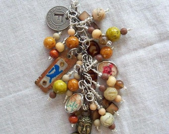 BUDDA Beaded purse charm fob key chain zipper pull