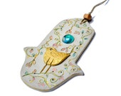 Hamsa Hand Wall Hanging. Wall Décor with a Gilded Bird and an Aqua Glass Gem.Home Décor.For Studio,New Home.Chamsa.Handmade and Hand Painted